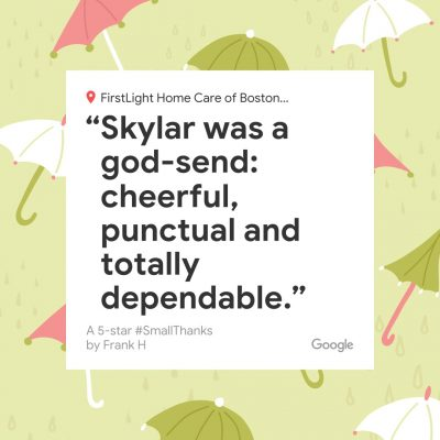 Skylar was a god-send: cheerful, punctual and totally dependable.