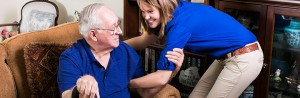 worker assisting senior with home care in columbia