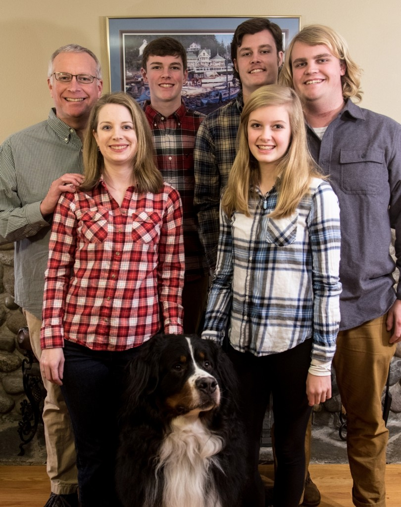 Our family: Sons, Braeden, Cooper and Griffin; Daughter, Kalli; and Bernese Mountain Dog, Clack.