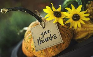 Thanksgiving still life background with pumpkins, gourds and message