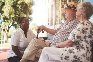Elderly couple travel with a Travel Companion from FirstLight Home Care