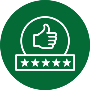 A thumbs-up above five stars